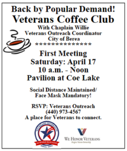 Veterans—You're invited to a socially-distant coffee club meeting, April 17, 10