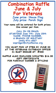 Attention military veterans: Enter the June/July raffle starting tomorrow, June