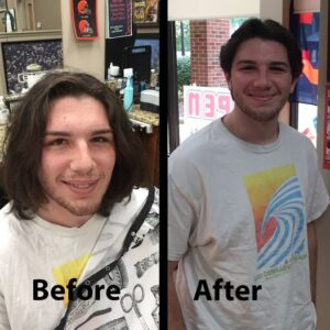 Meet Evan. He is a student at BW and came in for his back-to-school haircut.